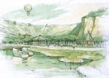 Lago nelle colline Immagine Stock