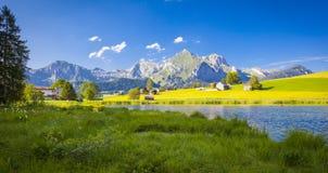 Lago nelle montagne svizzere Immagine Stock Libera da Diritti