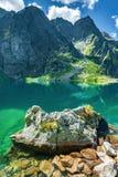 Lago nero nell'ambito del picco di Rysy, montagne di Tatra fotografia stock libera da diritti
