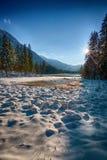 Lago nevado Hintersee, tierra de Berchtesgadener, Baviera, Germa fotografía de archivo