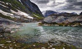 Lago Nigardsbrevatnet, Norvegia Fotografia Stock