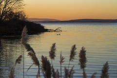 Lago no alvorecer, montanhas bonitas na distância Fotografia de Stock Royalty Free