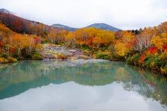 Lago no outono com as ?rvores coloridas coloridas brilhantes foto de stock royalty free