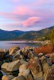 Lago no por do sol Foto de Stock Royalty Free