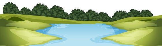 Lago no primeiro plano do parque imagem de stock