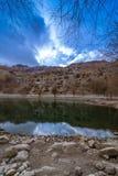 Lago no quadro da natureza - vila de Nako, vale de Kinnaur, Himachal Pradesh fotos de stock