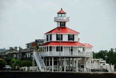 Lago novo Pontchartrain Louisiana lighthouse do canal, EUA fotos de stock