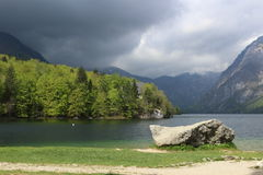 Lago nuvoloso Bohinj Fotografia Stock