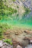 Lago Obersee con chiara acqua verde e la riflessione, parco nazionale di Berchtesgaden Fotografia Stock Libera da Diritti