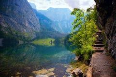 Lago Obersee nos cumes, Alemanha Fotografia de Stock