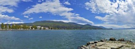 Lago ohrid, Macedonia - panorama fotografia stock