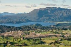 Lago Okaro con el soporte Tarawera Fotografía de archivo