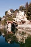 Lago Orta, paisaje italiano famoso Fotos de archivo libres de regalías