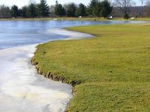 Lago parcialmente congelado Imagen de archivo libre de regalías