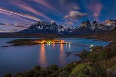 Lago Pehoe Nationale Park Torres del Paine binnen Stock Afbeeldingen