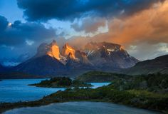 Lago Pehoe, parc national Torres del Paine dedans Photographie stock