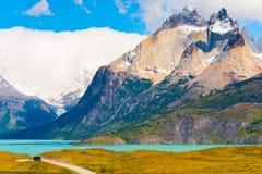 Lago Pehoe, parque nacional de Torres del Paine, Patagonia, o Chile, Ámérica do Sul Copie o espaço para o texto imagens de stock