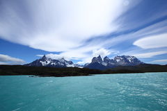 Lago Pehoe in Torres del Paine royalty-vrije stock fotografie