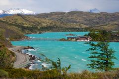 Lago Pehoe in Torres del Paine. Hosteria Pehoe on Lago Pehoe in Torres del Paine National Park, Patagonia Chile Royalty Free Stock Images