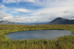 Lago pequeno na tundra da montanha Fotos de Stock Royalty Free