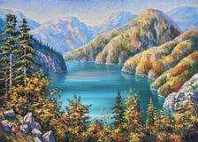 Lago pitoresco Ritsa no outono atrasado República da Abkhásia fotografia de stock royalty free