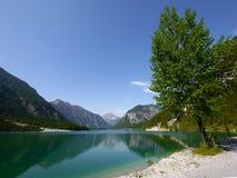 Lago Plansse e montagna delle alpi immagini stock libere da diritti