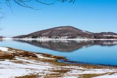 Lago Plastira no inverno Foto de Stock Royalty Free