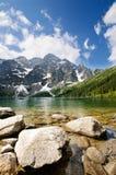 Lago polacco Morskie Oko delle montagne di Tatra Fotografia Stock