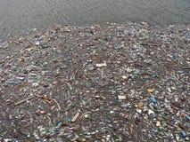 Lago poluído Poluição na água Garrafas plásticas Doenças e doenças foto de stock royalty free