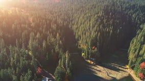 Lago popular entre bosques densos contra las colinas ilustradas almacen de metraje de vídeo