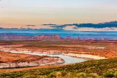 Lago Powell Sunset Panorama Imagenes de archivo