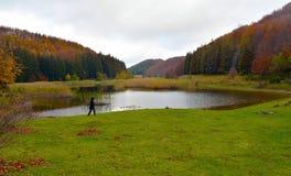 Lago Pratignano in autunno Stock Afbeelding