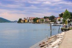 Lago Predore Iseo, Lombardía Imágenes de archivo libres de regalías