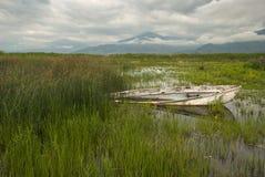 Il lago Prespa in Grecia immagine stock