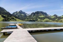 Lago preto em Suíça Fotografia de Stock Royalty Free