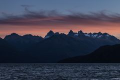 Lago Puelo, Patagonia, Argentina. Dramatical sunset at National Park Lago Puelo, Patagonia, Argentina Stock Photo