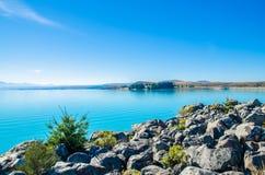 Lago Pukaki in isola del sud Nuova Zelanda Fotografia Stock Libera da Diritti