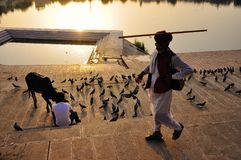 Lago Pushkar em Pushkar, Índia Imagens de Stock Royalty Free