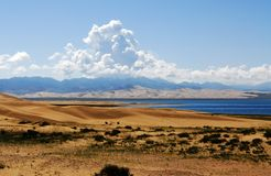 Lago Qinghai - l'isola della sabbia Fotografia Stock
