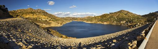 Lago Ramona Panorama Blue Sky Preserve Poway San Diego County Inland fotografia de stock royalty free