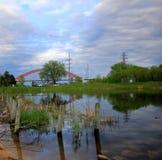 Lago Rebecca ed il ponte di Hastings in Hastings, Minnesota immagine stock libera da diritti