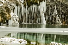 Lago, riflessioni, sentiero didattico, inverno, congelato, freddo, colorado fotografia stock libera da diritti
