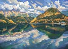 Lago Ritsa no outono A Abkhásia Autor: Nikolay Sivenkov ilustração do vetor