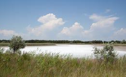 Lago salino, cuspo de Kinburn, Ucrânia foto de stock