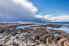 Lago salt com os flamingos perto de Larnaca, Chipre foto de stock royalty free