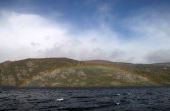 Lago Sanabria con el arco iris Foto de archivo libre de regalías