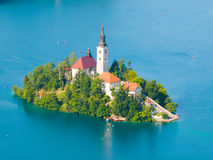 Lago sangrado con la isla y la iglesia Imagenes de archivo