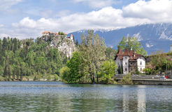 Lago sangrado em Eslovênia, primavera de 2015 Fotografia de Stock Royalty Free