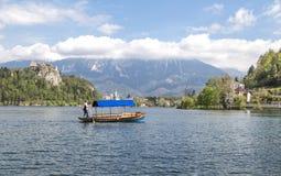 Lago sangrado en Eslovenia, primavera 2015 Fotografía de archivo