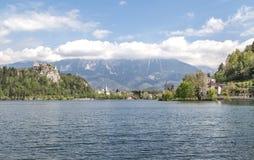 Lago sangrado en Eslovenia, primavera 2015 Imagen de archivo libre de regalías